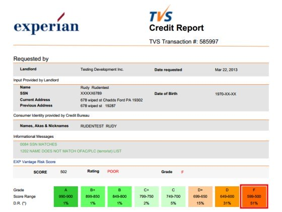 Tenant Verification Service Credit Report